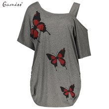 Gamiss Women Plus Size Cold Shoulder Butterfly Print Long Top Tee Shirt Summer Short Sleeve Skew Collar Female Casual T-Shirts(China)