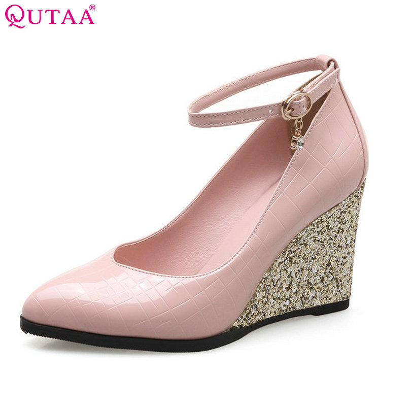 QUTAA 2018 Women Pumps PU Leather Woman Shoes Ankle Strap Platform Wedge High Heel Pointed Toe Ladies Wedding Pumps Size 34-43<br>