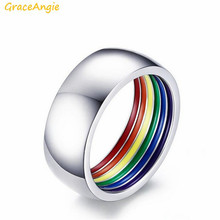 1pcs 8MM Bright Silver Stainless Steel Rainbow Rings Simple Jewelry Party Celebration Men Lovers Ring