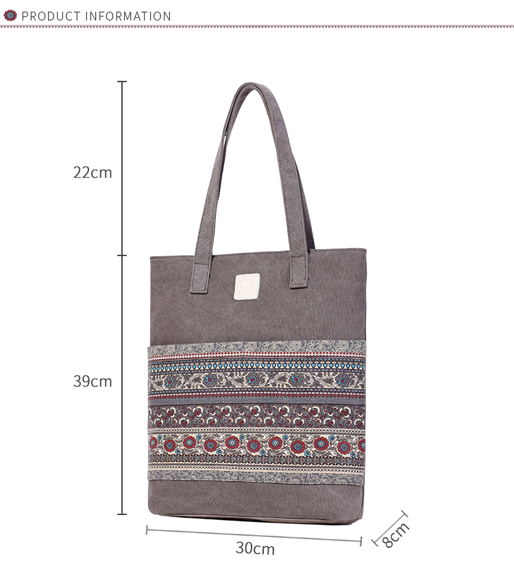 Canvasartisan Brand new canvas women handbags floral vintage female shopping shoulder bag zipper closure tote hand bags 7