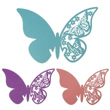 50pcs /set Butterfly Wine Glass Place Cards Cup Paper Card for Home Garden/Birthday/Wedding Party Decoration Supplies