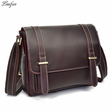 High quality genuine leather men shoulder bags casual brown zipper messenger bag big capacity business crossbody bags for male