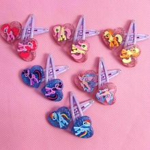 14pcs=7pairs Cartoon Hair Clip my little ponies Heart-shaped BB Clips Flash hairpin kids hair accessories for Girls Headdress