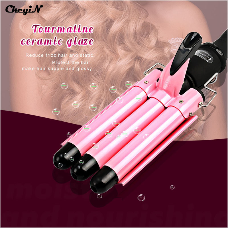 3 size Professional Hair Curling Iron LCD Display Ceramic Triple Barrels Hair Curler Waver Roller Wand Deep Wave Styling Tool 44<br>