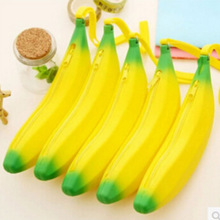 Cute Kawaii Silica gel Banana Pencil Case Creative Novelty Lovely Pen Bag for Kids Korean Stationery Free shipping 1107