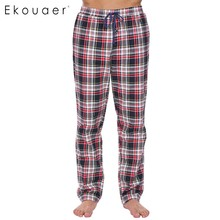 Ekouaer Mens 100% Cotton Casual Sleep Bottoms Elastic Waist with Drawstring Plaid Pajama Sleepwear Pants Plus Size Male Homewear(China)
