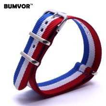 Wholesale 20mm Man Womens France Color Red White Blue Nylon Military Watches Strap Wristwatch Band Buckle Woven Watchbands(China)