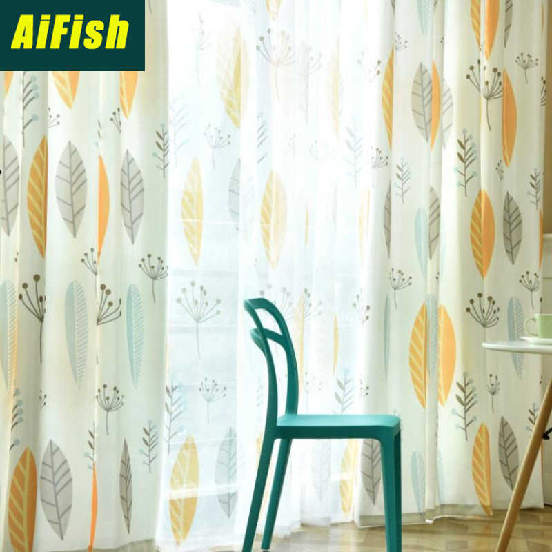 Blue Yellow Leaf printed Tulle Curtains For Living Room shading cloth fabric curtains for Bedroom window Set Home Decor wp132&4