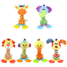 22cm Wholesale rattles Baby plush toy soft hand bell with teether Animal model infant 0-12 months brinquedos LF141