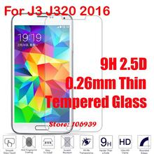 New Cheap 9H 2.5D 0.26mm Phone Cell LCD Display Accessories Tempered Glass Verre Cristal For Samsung Galaxy J3 J320 2016