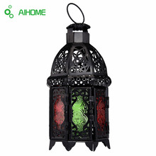 Moroccan Style Matte Cast Iron Handmade Octagonal Candle Lantern Multicolor Textured Glass,Living Room,Balcony,Garden Decoration(China)