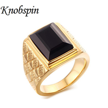 High quality Jewelry 18MM Men's 316L Stainless Steel Black Square Onyx Ring Gold color Cocktail and Wedding Ring Size 8-11