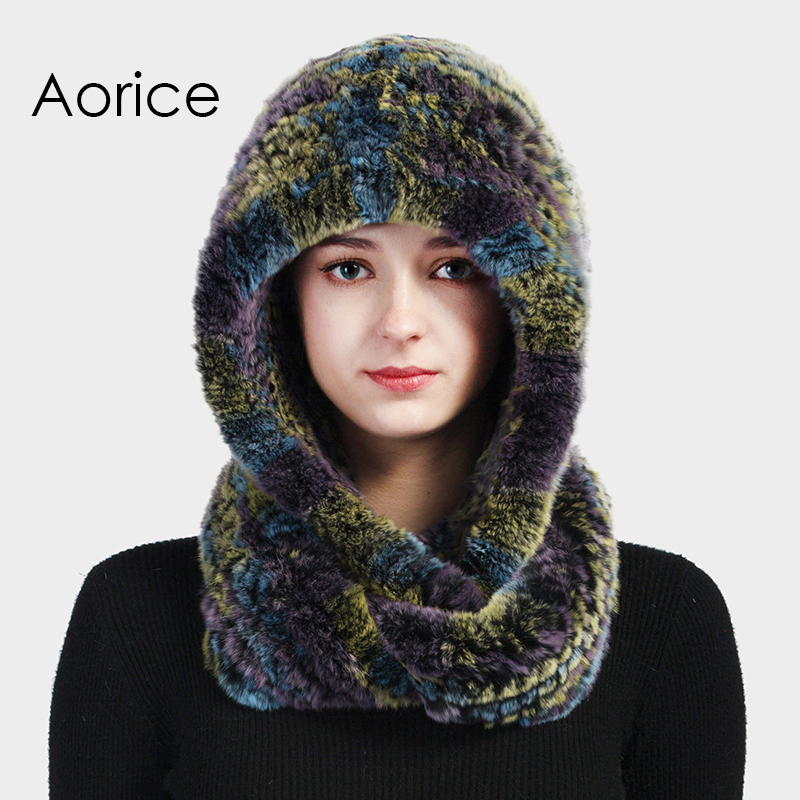 Aorice HF711 women real rabbit fut hat cap scarf 2017 new winter warm Rex fur caps hats scarves beanies Îäåæäà è àêñåññóàðû<br><br>