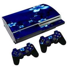 OSTSTICKER Blue Flower Vinyl Skin Sticker for sony playstation 3 Fat for PS4 Fat sticker China manufacturer(China)