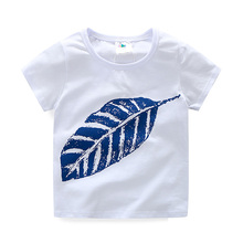 Boys T Shirt Leaves Pattern Boy T-shirt O-neck Short Sleeve Summer Baby Boy Shirt Casual Children Clothing 2420