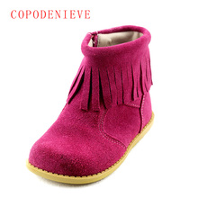 COPODENIEVE  winter children boots girls shoes fashion tassel rivet martin boots girls winter boots warm cotton kids girls boots