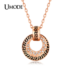 UMODE Famous Brand Rose Gold Color Retro Style Austrian Crystals Circle Shaped Pendant Necklaces For Women Bijoux Gifts AJN0088