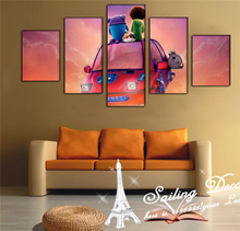 2016 New 5 Panel Art Cartoon Painting Modern Wall Painting Scenery Canvas Oil Print Painting For Kids Room Decor unframedCP16166