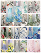 polyester chiffon printed fabric material for dress christmas fashion shade color chiffon fabric for dress