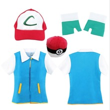 New 2017 Pokemon Ash Ketchum Trainer Costume Cosplay T Shirt + Gloves + Hat Cap Ash Ketchum Costume Christmas Gift Free Shipping