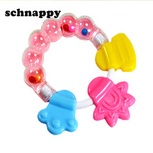 Cartoon Baby Baby Teether Educational Toys Teeth Biting For Babies Baby Rattle Toy For Bed Bell Silicone Handbell Jingle(China)