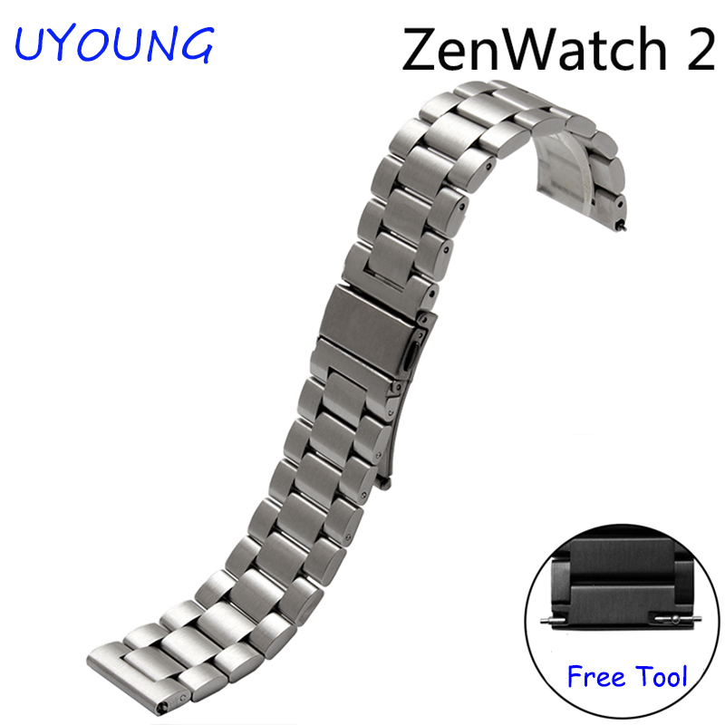 For ASUS Zen Watch 2 Quality solid stainless steel watch bands 22mm Replacement steel strap black silver<br><br>Aliexpress