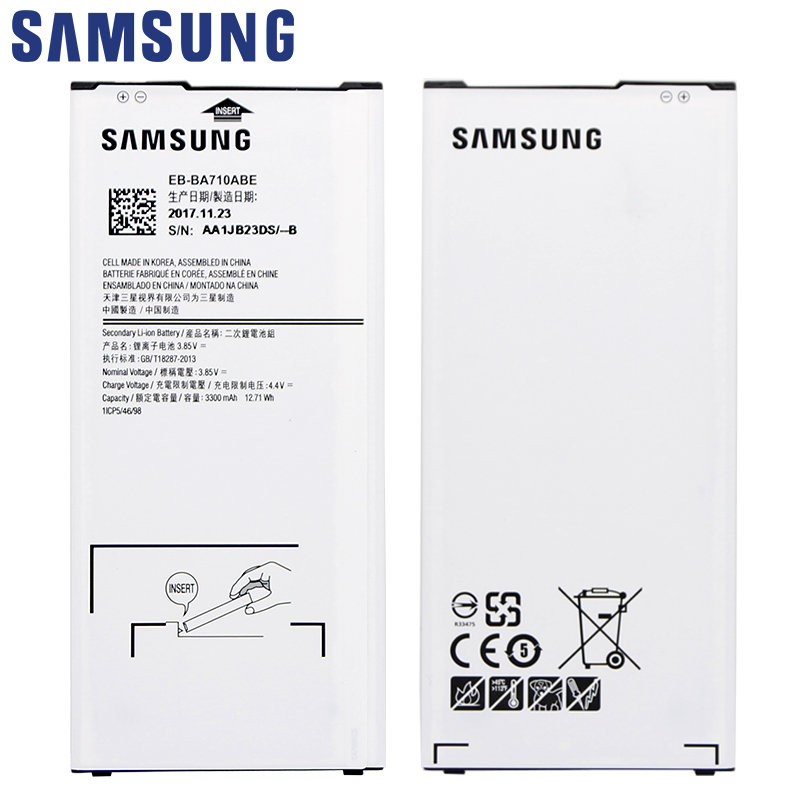 SAMSUNG Original Replacement Phone Battery EB-BA710ABE For Samsung GALAXY A7 2016 A7100 A7109 A710 A710F Authentic Batte