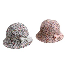 Sweet Baby Gift Infant Floral Bowknot Beach Outdoor Sun Bucket Hat Cap 4M-2Y S12(China)