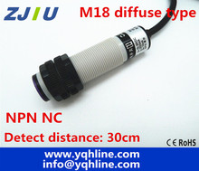 M18 diffuse type NPN NC DC 3 wires photoelectric sensor normally close switch distance 30cm adjustable reflectance laser switch(China)
