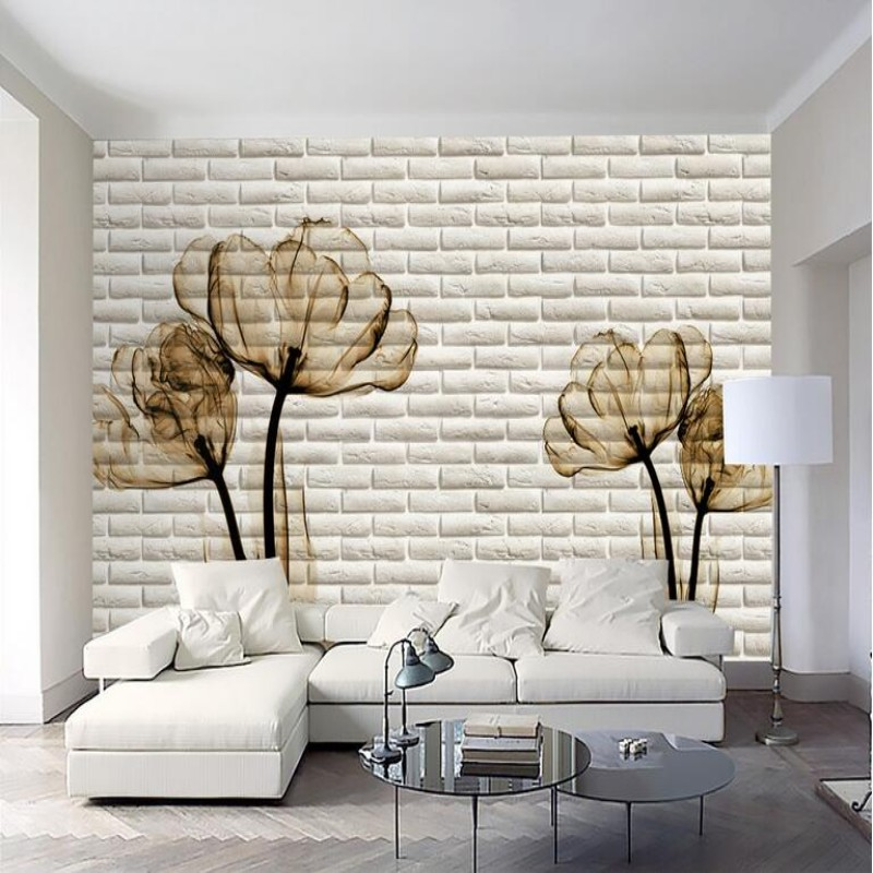 Large custom wallpaper background wallpaper room living room TV setting solid brick wall abstract flowers 3 d mural wallpaper<br><br>Aliexpress