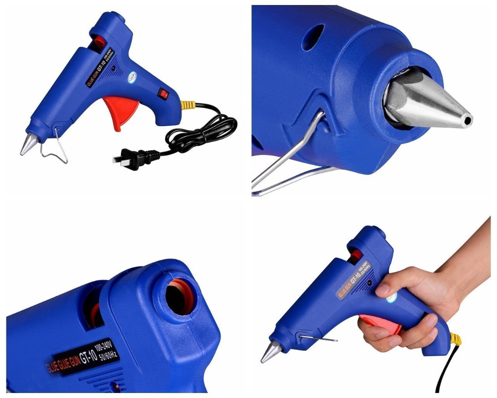 WHDZ 100W Hot Stick Heater Trigger Melt Glue Gun Repair Tool with 5pcs black glue gun stick Paintless Dent Removal Tools