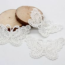 10pcs/lot 7.5*5cm white butterfly soluble lace patch embroidery bow cotton lace trimming diy clothing accessories supplier