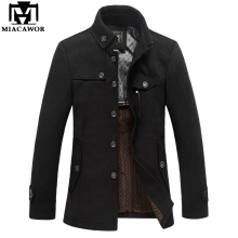 Miacawor Brand Clothing Mens Wool & Blends Autumn Winter Cashmere Men's Coat Trench Jacket Wool Coat Overcoat MJ381(China)