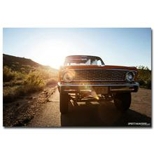 NICOLESHENTING Hot Rod Muscle Car Art Silk Fabric Poster Print Classic Car Sunset Landscape Pictures For Living Room Decor 007