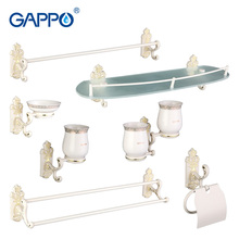 Gappo 7PC/Set Bath Hardware Sets Soap Dish Paper Holder Towel Bar Double Toothbrush Holder Glass shelf Bathroom AccessoriesG35T7(China)