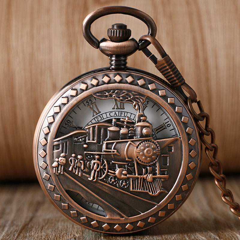 Classic Trendy Men Half Hunter Women Running Steam Train Chain Pocket Watch Fashion Fob Gift Mechanical Hand Wind Watches <br><br>Aliexpress