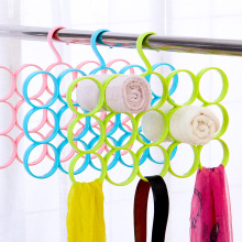 15 Hole Ring Rope Slot Tie Scarf Storage Holder Wrap Shawl Hanger Wardrobe Organizer Rack(China)