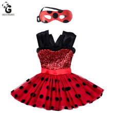 Miraculous Girls Dress Kids Flash Dress for Girl Mask Cosplay Costumes Halloween Red Ladybug Marinette Bobo Choses Child Clothes
