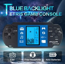 Blue backlight Retro Portable Tetris Handheld Game Console play in the dark with FM radio Kids Educational toys(China)