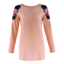 2016 Hot Spring Autumn Womens\' Long Sleeve T-Shirt Casual Lace Loose Tops Lady Comfortable Cotton Print T-Shirts DM#6