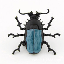 H:HYDE New Arrival Fashion Trendy Blue Enamel Bug Beetle Insect Brooch Pin Costume Jewelry For Gift Wholesale