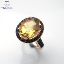 TBJ,100% natural 10*12mm oval cut citrine rings for women 925 Sterling Silver Ring Fine Jewelry Engagement Ring with box