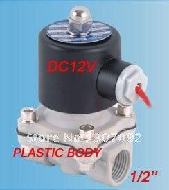 Free Shipping 1/2 Plastic Solenoid Valve 12V Water Plastic Valve 2 Way DC12V 2W160-15P<br>
