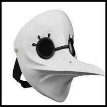 Hot !!White venetian long nose Bird Doctor Plague Mask beak Fancy mardi gras masquerade for Halloween Party Head prop bird mouth
