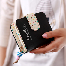 Fashion Candy Colors Women Wallets Short Polka Dots Leather Zipper Small Wallet  Purse Cards Holder For Girls Women Laddies