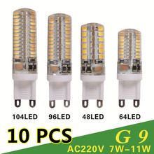 10 PCS/lot G9 LED 220V 7W 9W 10W 11W Corn Bulb 360 degrees Lamp g9 bulbs High Quality Chandelier Light Replace Halogen Lamp