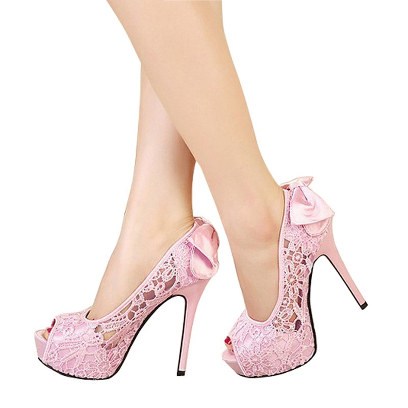 Stylish Lace Women Platform Sandal bowknot Ladies Pumps Sexy High Heels Summer Shoes Sandalias Mujer Sandales Femme Femininas<br><br>Aliexpress