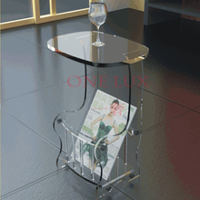 Free shipping ONE LUX Acrylic small tea table with storage basket,Lucite Magazine tables
