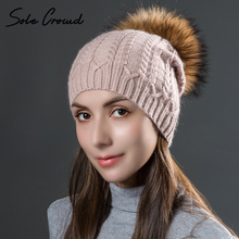 Sole Crowd Winter warm knitted rabbit fur twist hats for women with natural fur raccoon pom pom hat autumn ladies caps skullies(China)