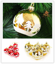 6cm red light snow ball 2017 gold new christmas gift with painting bronzing painted high quality ballchristmas ornament supplies